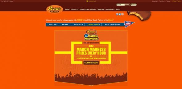 www.GoReeses.com – REESE'S / NCAA March Madness / Make the Crowd Go Wild Promotion