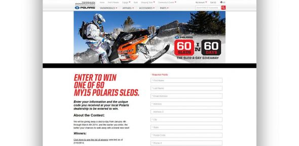 terraindomination.com/sixty-sled-giveaway – Polaris 60 Sleds in 60 Days Sweepstakes