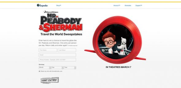 Expedia Mr. Peabody and Sherman Travel the World Sweepstakes