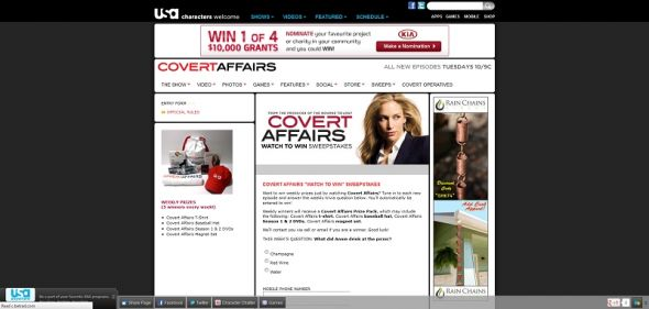 Covert Affairs Watch to Win Sweepstakes