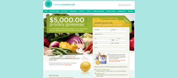 Martha Stewart Living $5000 Grocery Giveaway Sweepstakes