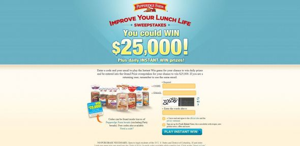improveyourlunchlife.com – Pepperidge Farm Improve Your Lunch Life Instant Win Game & Grand Prize Sweepstakes