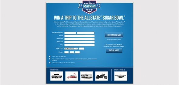 allstatecfb.com – Allstate's : 60 Seconds of Mayhem Promotion