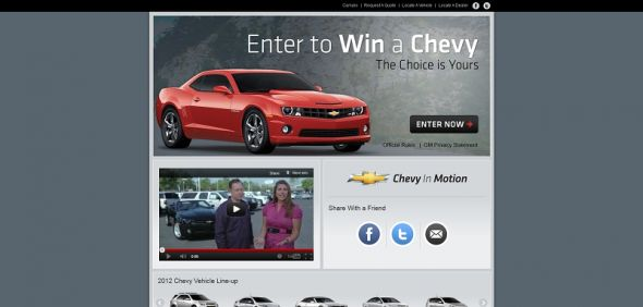 chevyinmotion.com – 2012 Chevrolet Vehicle Giveaway Sweepstakes