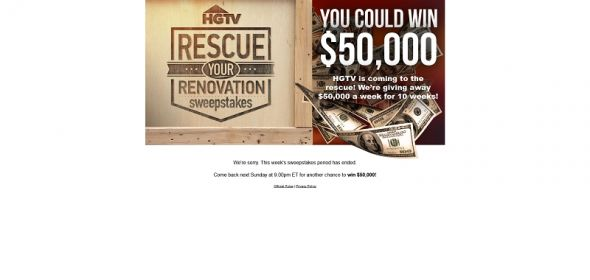 www.hgtv.com/rescue – HGTV's Rescue Your Renovation Sweepstakes
