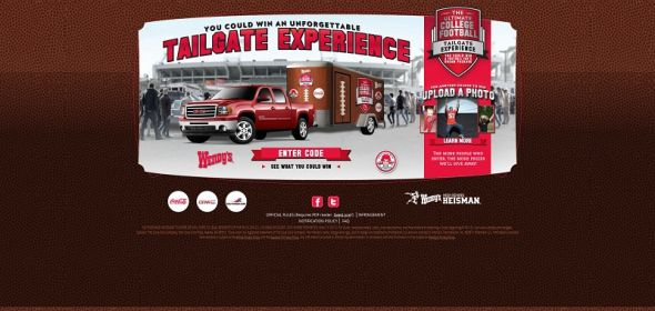 www.wendys.com/tailgate – Wendy's Ultimate College Football Tailgate Experience