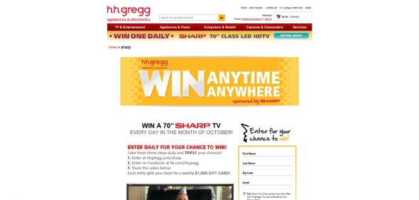 hhgregg.com/sharp – hhgregg Sharp TV Sweepstakes