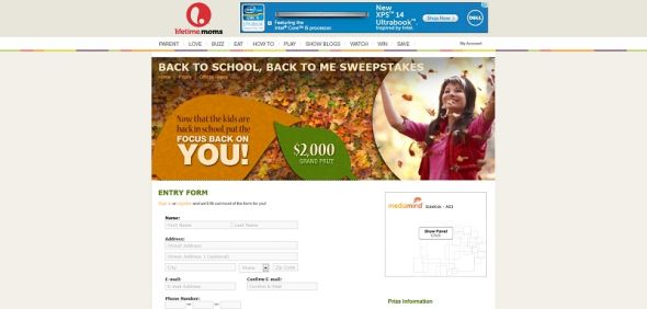 Back to School, Back to Me Sweepstakes