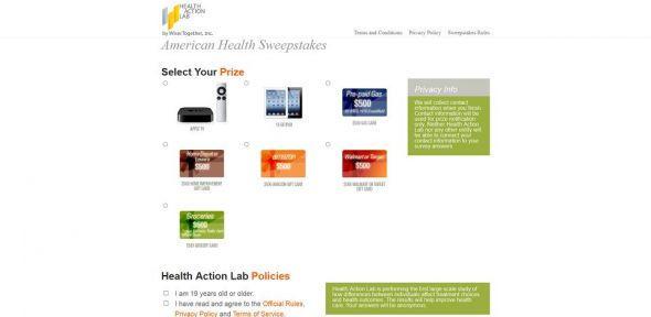 Health Action Lab Survey Sweepstakes