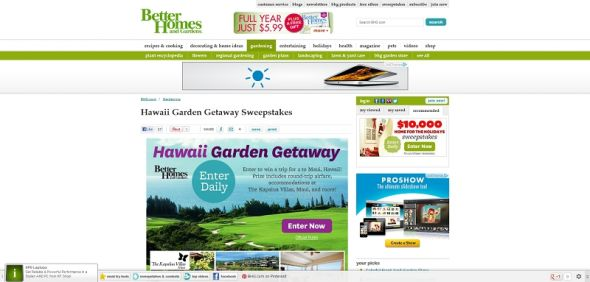 Better Homes and Gardens Hawaiian Garden Getaway Sweepstakes