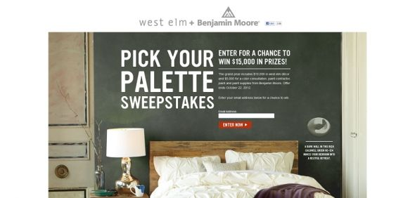 West elm Pick Your Palette Sweepstakes