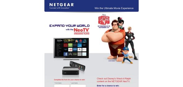 2012 Ultimate NETGEAR Disney Prize Pack Sweepstakes