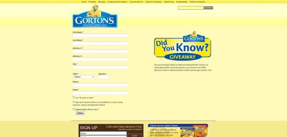 Gorton's Seafood Did You Know? Sweepstakes