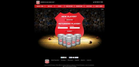 Phillips 66 Basket Pong and KickBack Points Program Promotion