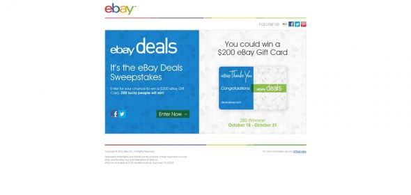 eBay Deals Thanks You Sweepstakes