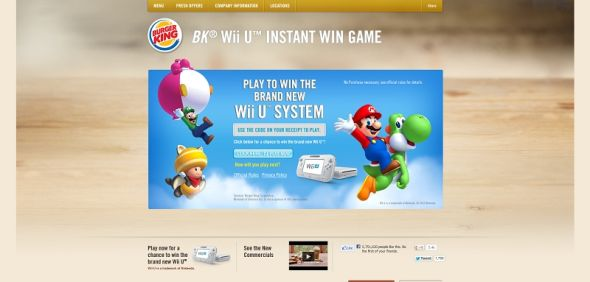 bk.com/wiiu – BURGER KING Wii U Instant Win Game