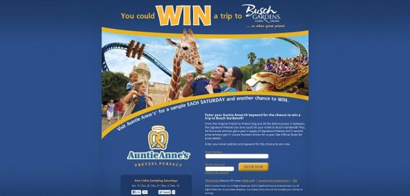 Auntie Anne&#8217;s Sampling Saturdays Sweepstakes