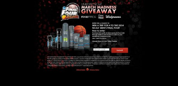 walgreens.com/axedovemen – Unilever NCAA March Madness Giveaway