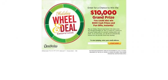 Holiday Wheel & Deal Sweepstakes