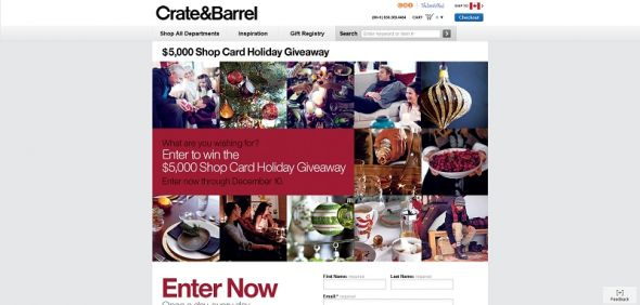 Crate and Barrel $5,000 Shop Card Holiday Giveaway