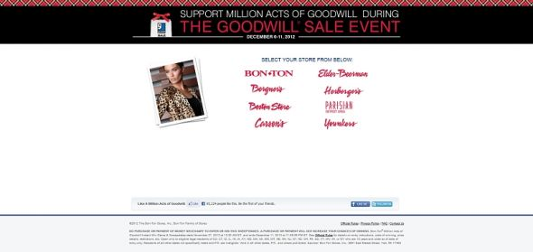 millionactsofgoodwill.com – Bon-Ton Million Acts of Goodwill Instant Win Game & Sweepstakes