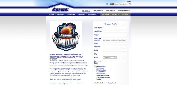 Aaron's Slam Dunk Sweepstakes