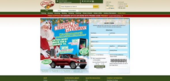 basspro.com/countdown – Bass Pro Shops Countdown to Christmas 2012 Sweepstakes