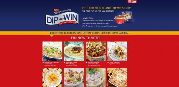Lipton Recipe Secrets Dip to Win Sweepstakes