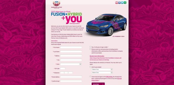 2013wipsweeps.com – 2013 Ford Warriors in Pink Sweepstakes