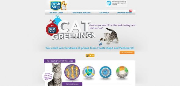 freshstep.com/cat-greetings –  Fresh Step Cat Greetings Game