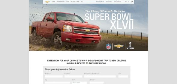 www.chevrolet.com/superbowl – Silverado Drive to the Super Bowl Sweepstakes