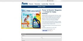 Purex and Parents Magazine A Recipe For Happy Families Sweepstakes : 8,000 one-year's subscription to Parents Magazine