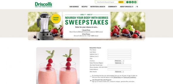 Driscoll's Nourish Your Body With Berries' Sweepstakes
