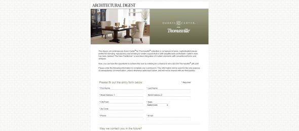 Architectural Digest Thomasville Sweepstakes