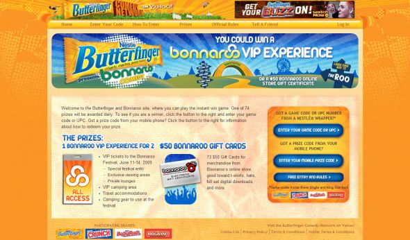 Butterfinger Bonnaroo Instant Win Game