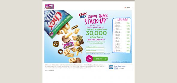 Chex Mix School Snack Stack-Up Promotion