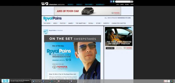 Royal Pains On The Set Sweepstakes