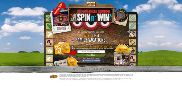 crackerbarrelsummerspin.com – Cracker Barrel Old Country Store All-­American Summer Spin n' Win