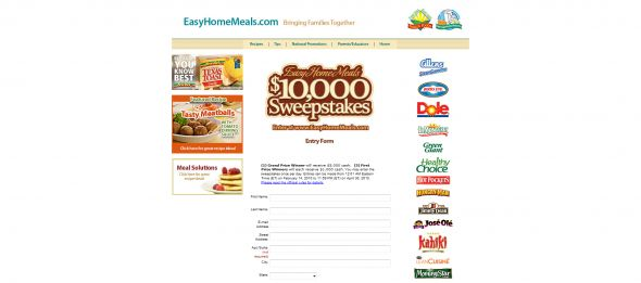 Easy Home Meals $10,000 Sweepstakes