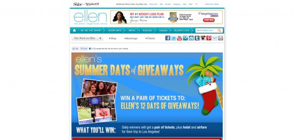 Ellen DeGeneres 2012 Twelve Days of Giveaways Sweepstakes