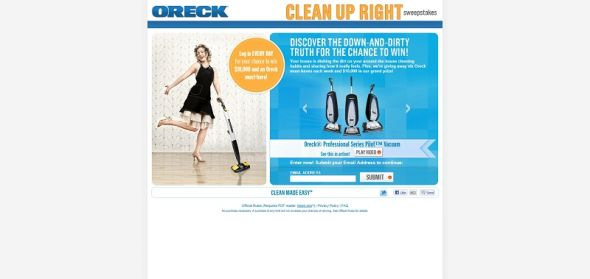 Oreck Clean Up Right Sweepstakes