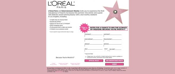 redcarpetsweeps.com – L'Oréal Red Carpet Weekend Sweepstakes