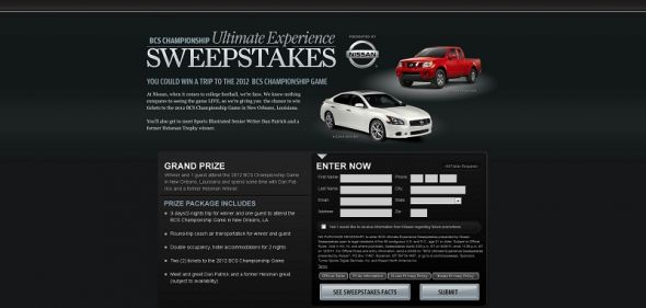 BCS Ultimate Experience Sweepstakes presented by Nissan