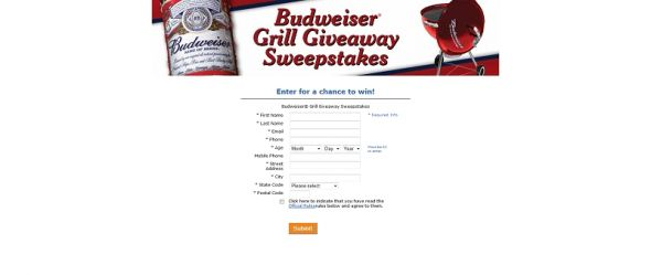 Budweiser Grill Giveaway