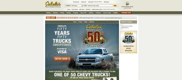 www.cabelas.com/sweeps – Cabela's 50 Years/50 Trucks Sweepstakes