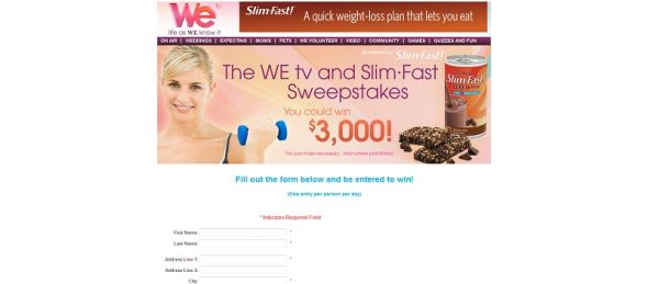 WE tv and Slim Fast Sweepstakes