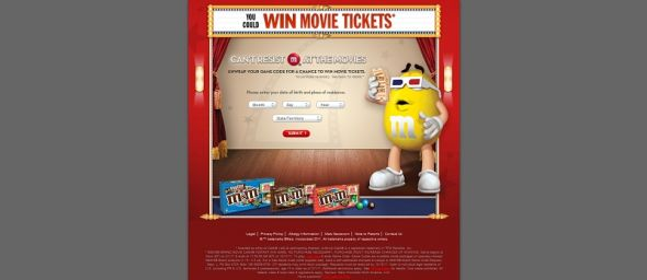 www.mmsmovietickets.com – M&M'S Brand Movie Cash Instant Win Game
