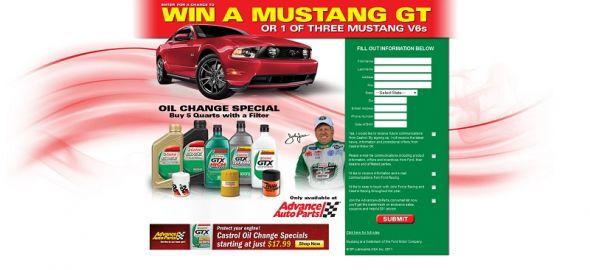 www.castrolmustangsweeps.com – Castrol Advance Mustang Sweepstakes