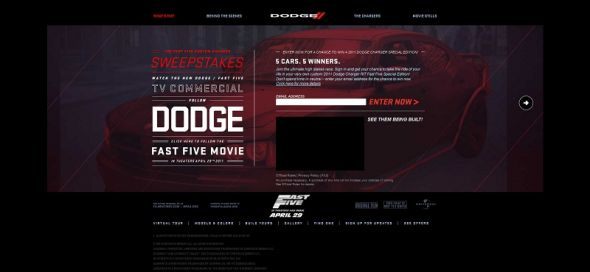Fast Five Dodge Charger Sweepstakes
