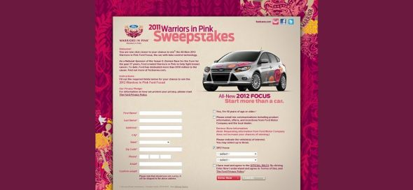 2011 Ford Warriors in Pink National Sweepstakes